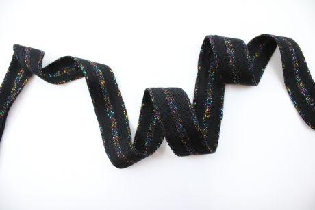 RETRO STRIPES CUFFS METALLISCH - *schmal schwarz & rainbow glitter