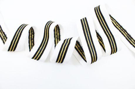 RETROSTRIPES Metallisch -  weiß & black.royalblauglitzer.gelb