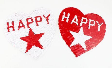 XXL WENDEPAILETTEN PATCH - HAPPY HEART rot/weiß