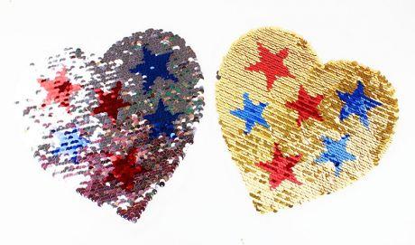 XXL WENDEPAILETTEN PATCH - HEARTS & STARZ gold/silber