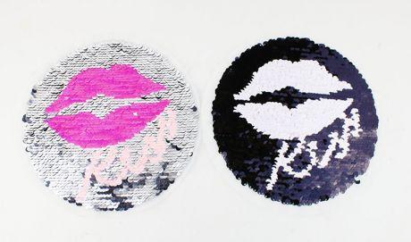 XXL WENDEPAILETTEN PATCH - KREIS KISS silber/black
