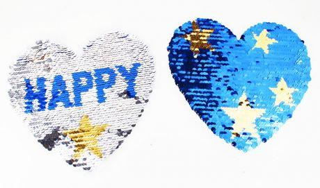 XXL WENDEPAILETTEN PATCH - HAPPY GIRL silber/blau