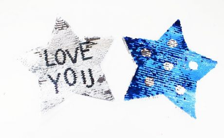 XXL WENDEPAILETTEN PATCH - LOVE YOU STARZ Polkadots silber/blau
