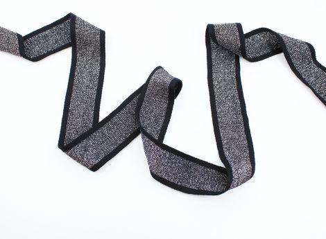 RETRO STRIPES CUFFS - glitzerblack&black 3,3cm