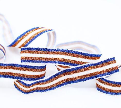 GLITTER GLAM STRIPES! - Royalblau . Bronze & Weiß