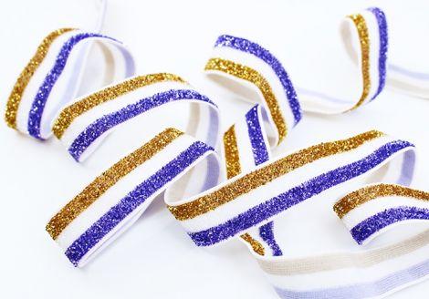 GLITTER GLAM STRIPES! - Gold & White & Lila