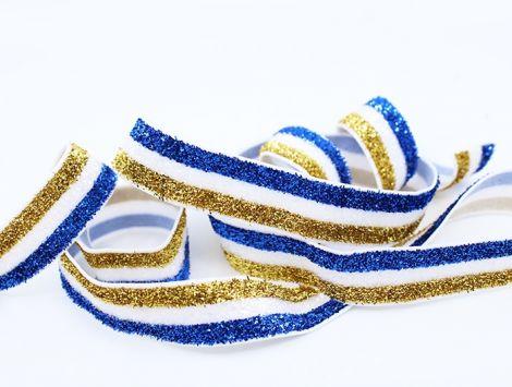 GLITTER GLAM STRIPES! - Royalblau & White & Gold
