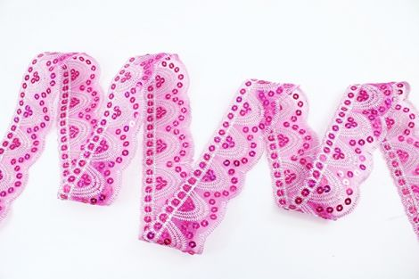 GIRLYS SPITZE & PAILETTEN 50mm - Pink & fuchise Pailetten