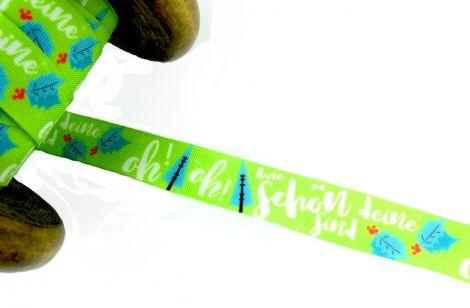 3m Baumwollband - Weihnachten - Oh! Tannenbaum - grün