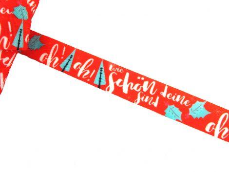 3m Baumwollband - Weihnachten - Oh! Tannenbaum - rot