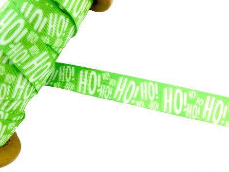 3m Baumwollband - Weihnachten - HO! HO! HO! - grün