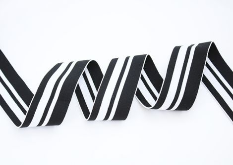 Breitegummiband - MOD!STRIPES - black block side white black white black