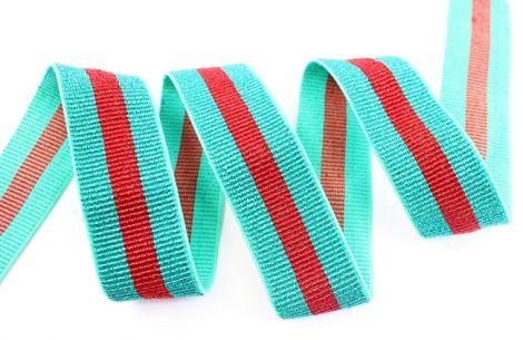 Breitegummiband - MOD!STRIPES - metallisch grün&rot