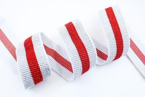 Breitegummiband - MOD!STRIPES - metallisch silber&rot