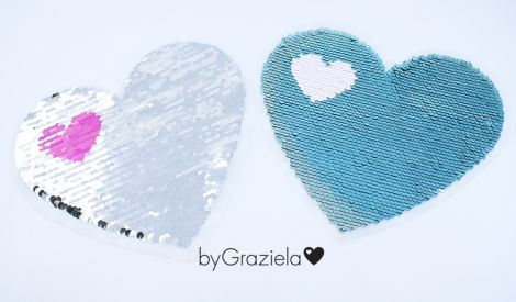 XXL WENDEPAILETTEN PATCH -  byGraziela - HEART TÜRKIS/SILBER