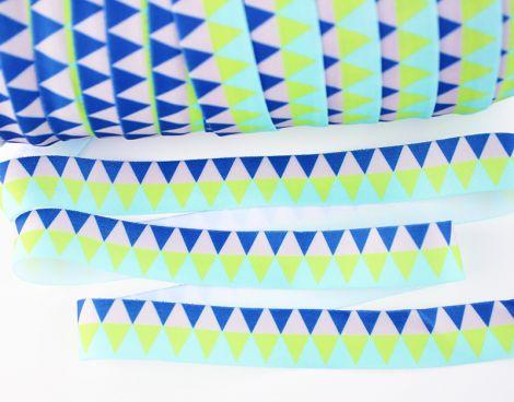 Falzgummiband MATT - Triangles - BLUES & GREENS