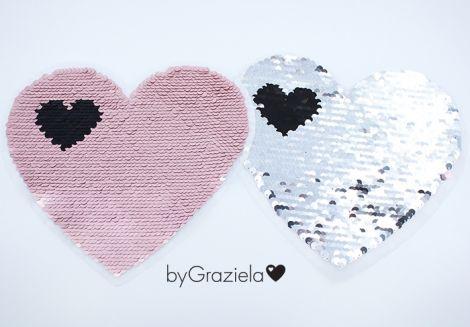 XXL WENDEPAILETTEN PATCH -  byGraziela - HEART MATT PINK&SILBER