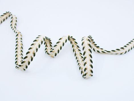 1m Baumwollkordel flach natur&gold 10 mm - Olivengrün