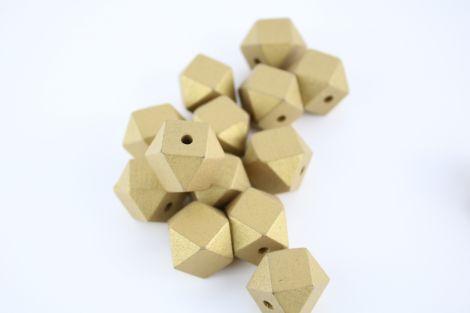 Holzperlen - Geometrix - metallisch Gold