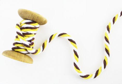 2m Baumwollkordel - 7 mm geflochtet- Dunkelbraun gelb weiß