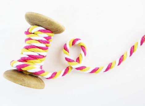 2m Baumwollkordel - 7 mm geflochtet- Pink, gelb, weiß