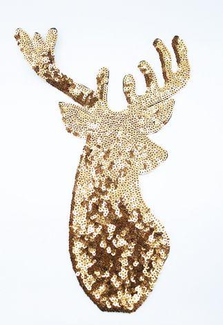 XXL EDEL PAILETTENPATCH - HIRSCH GOLD/SILBER