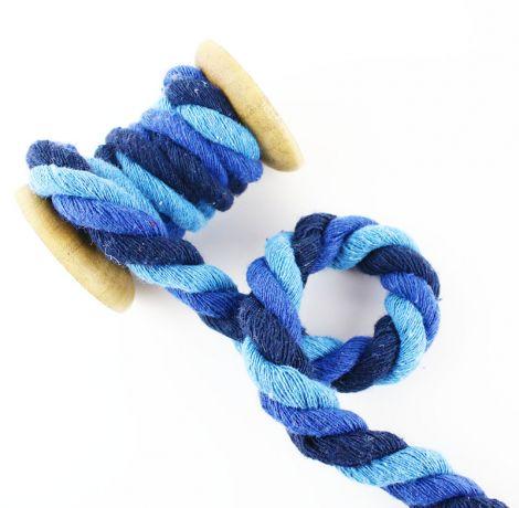 Baumwollkordel XL 12 mm gedreht - Big blue vibes