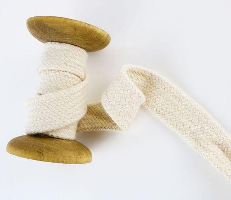 1m Baumwollkordel flach & geflochten 20 mm - Naturbeige