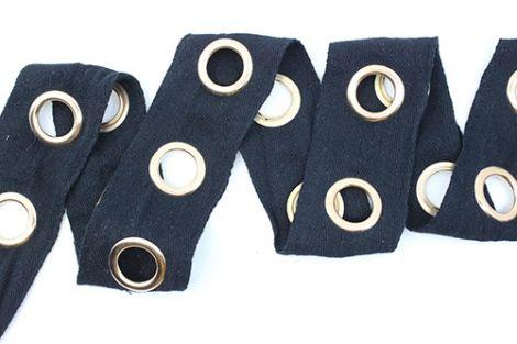ÖSENZ - XXL ÖSEN gold & Baumwollband schwarz
