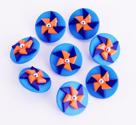 CANDYKNOPF 15 mm - Regilete - blau/orange