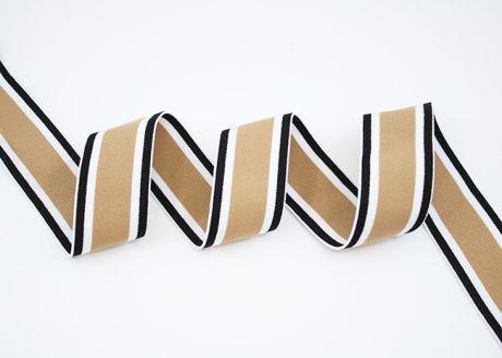 Breitegummiband - MOD!STRIPES - braun block weiß schwarz