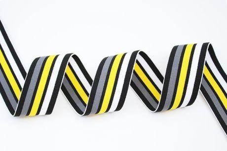 Breitegummiband - MOD!STRIPES - Schwarz Weiß & Zitronengrün