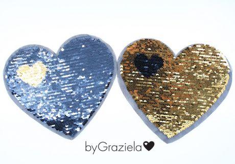 XXL WENDEPAILETTEN PATCH -  byGraziela - HEART MATT BLACK&GOLD