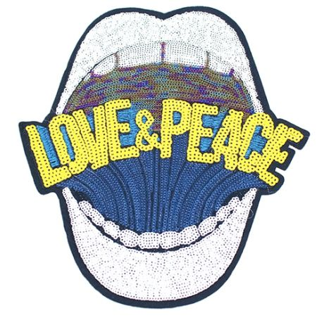 XXL GLAM Patches - LOVE AND PEACE WEIß
