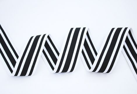 Breitegummiband - MOD!STRIPES - thick black core white black white shell