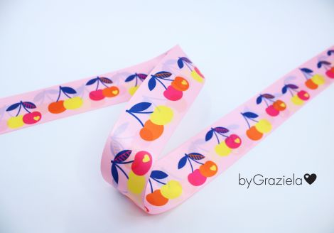 SATINBAND 38MM - byGraziela - CHERRIES