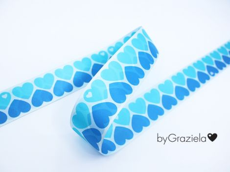 SATINBAND 38MM - byGraziela - HEARTS blau