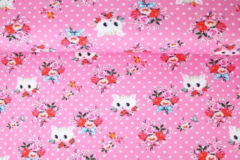 Jersey - süße Kätzchen Vintage Pink