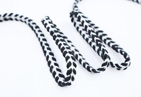 1m Baumwollkordel flach & geflochten 12 mm - weiß und schwarz braids