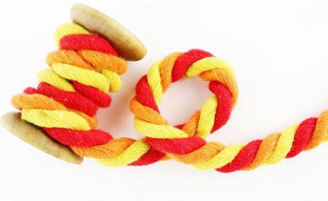 Baumwollkordel XL 12 mm gedreht - Orange, rot, gelb