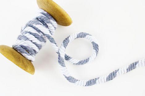2m Baumwollkordel 5 mm geflochten - grau & white
