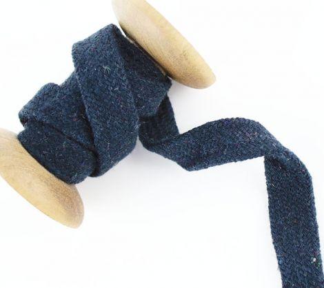 1m Baumwollkordel flach & geflochten 15 mm - Schwarz
