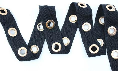 ÖSENZ - M ÖSEN gold & Baumwollband schwarz