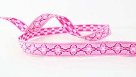 1 m Jaquardz - QUATREFOIL - pink&pink