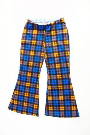 Damen Schlaghose - Biobaumwolle Kariert Electric blue & Orange  (Made to Order)