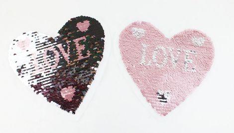 XXL WENDEPAILETTEN PATCH - PINK HEART LOVE matt silber/pink
