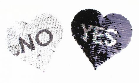 XXL WENDEPAILETTEN PATCH - HEART no?yes? silver/black